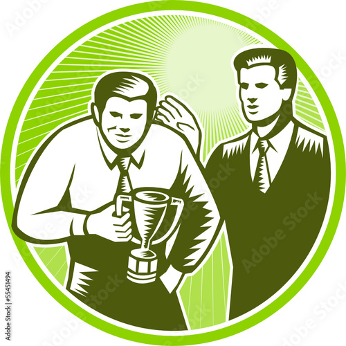 Officer Worker Winning Trophy Woodcut