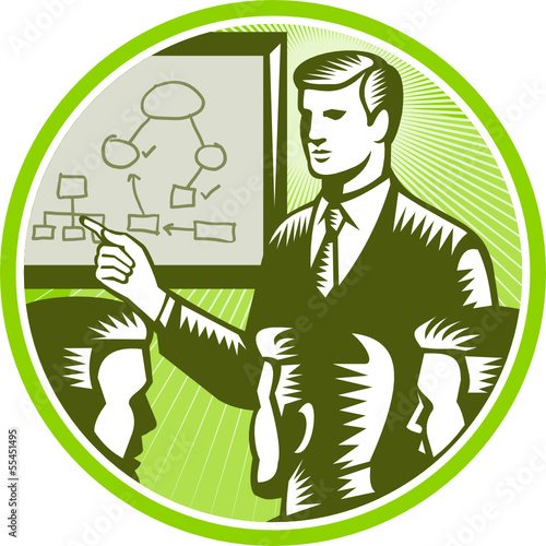 Businessman Presenting Boardroom Woodcut