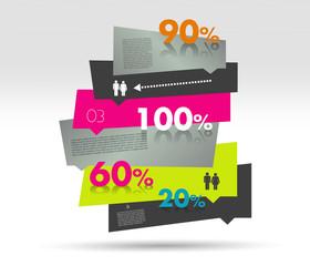 Sale box diagram for infographics. Speech bubbles chart.