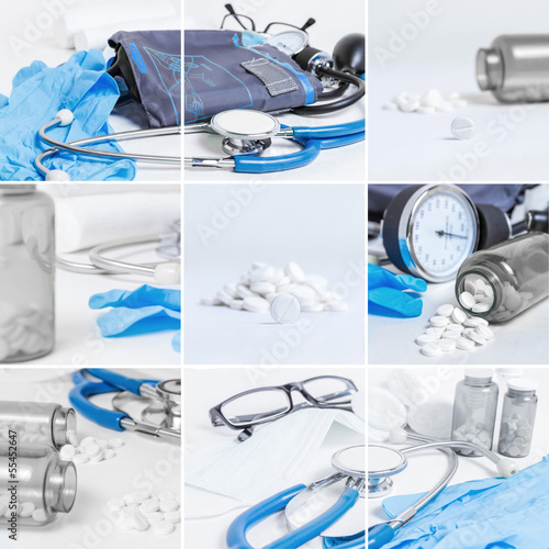 Medical objects collage