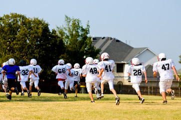 Football team running