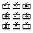 TV set, 3d, HD vector icons