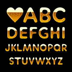 Beer alphabet. Vector set of letters in form of beer