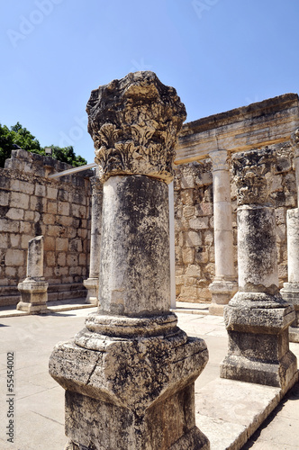 marble column, part of the great synagogue of Capernaum, Israel.
