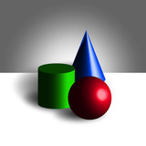 Sphere cilinder cone 3d model color