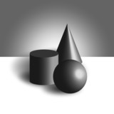 Sphere cilinder cone 3d model black white