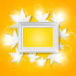photo frame with abstract autumn leaves background