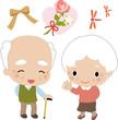 笑顔のおじいさんとおばあさん