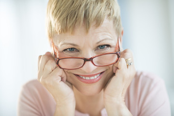 Smiling Woman Wearing Eyeglasses