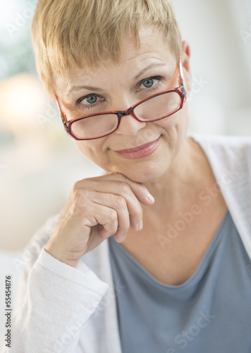Smiling Mature Woman Wearing Eyeglasses