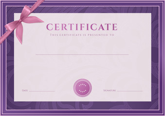 Certificate / Diploma template (award). Floral pattern, bow