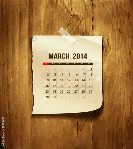 Calendar March 2014 paper on wood background