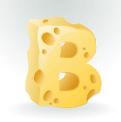 Cheese font B letter. Illustration on white.