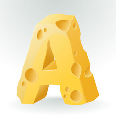 Cheese font A letter. Illustration on white.