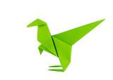 Origami dinosaur - Raptor - isolated on white background poster