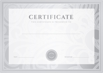 Silver Certificate / Diploma template (award). Floral pattern