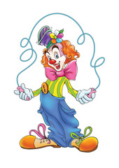 clown with skipping rope