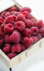 Fresh raspberries in basket