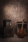 electric guitar and old amplifier