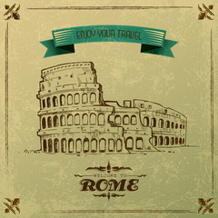 vector illustration of Roman Colosseum for retro travel poster