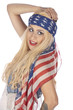 Fröhliches Girl im USA-Look
