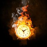 Alarm clock in fire