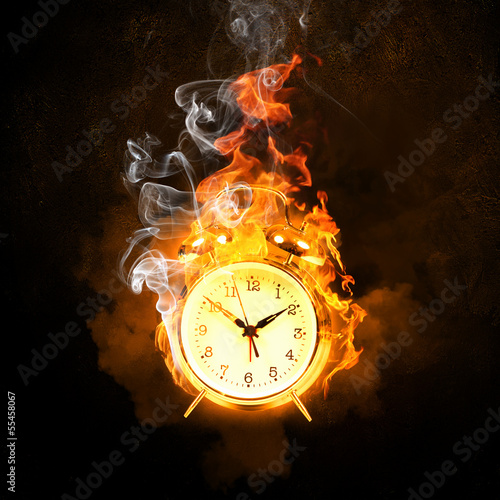 Alarm clock in fire