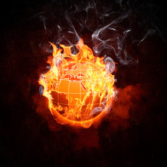Globe in fire flames