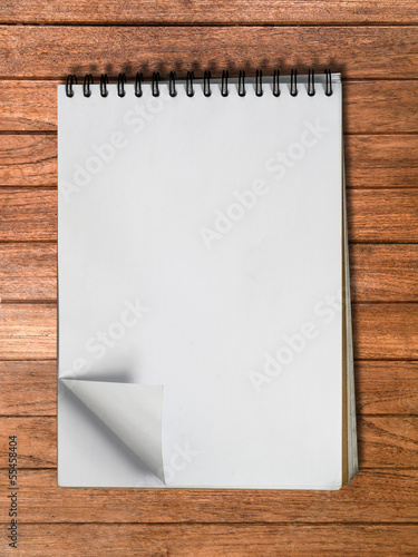 White sketch book one page Vertical on Wood
