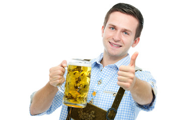 young man with Oktoberfest beer stein