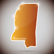 vintage sticker in form of Mississippi state, USA