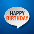 Happy Birthday 3d Speech Bubble on blue background