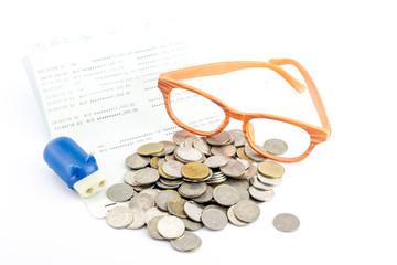 saving money,Account assbook and bluy pig bank