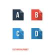 A B C D - Flat Design Paper Button Alphabet
