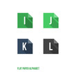 I J K L - Flat Design Paper Button Alphabet