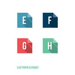 E F G H - Flat Design Paper Button Alphabet