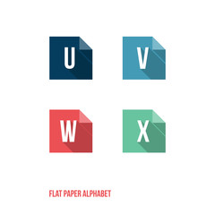 U V W X- Flat Design Paper Button Alphabet