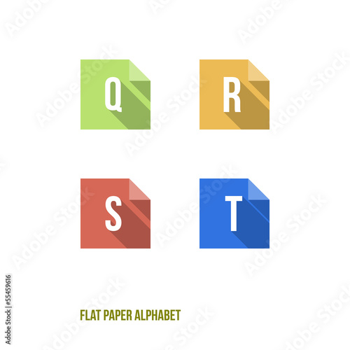 Q R S T - Flat Design Paper Button Alphabet