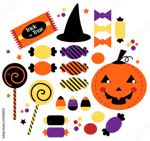 Halloween cute sweet Candy collection isolated on white