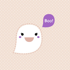 Cute Kawaii Ghost isolated on dotted retro background