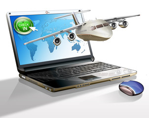 Laptop mit Flugzeug - Flugticket online buchen