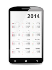 2014 Calendar on the screen of mobile phone