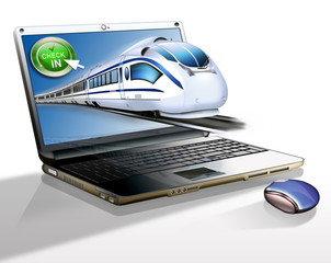 Laptop mit Schnellzug - Bahnticket online buchen