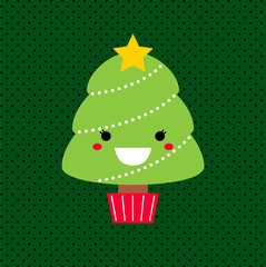Adorable cartoon Christmas Kawaii tree isolated on dotted backgr