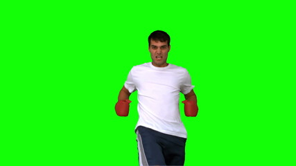 Handsome boxer performing a high kick on green screen