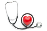 Red heart and stethoscope isolated on white background
