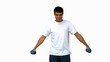 Attractive man lifting dumbbells on white screen