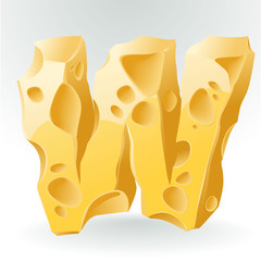 Cheese vector ABC. Letter W.