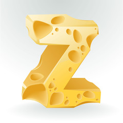 Cheese vector ABC. Letter Z.