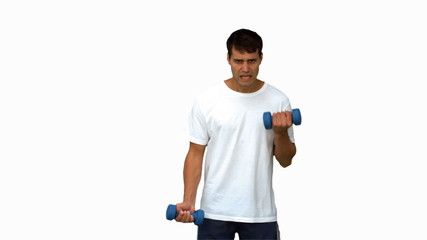 Handsome man lifting dumbbells on white screen